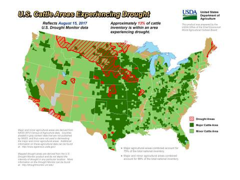 USDA Map of Drought and Cattle